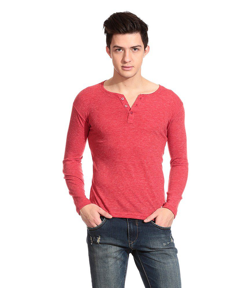 Tinted Red Cotton Blend Full Sleeves T-shirt