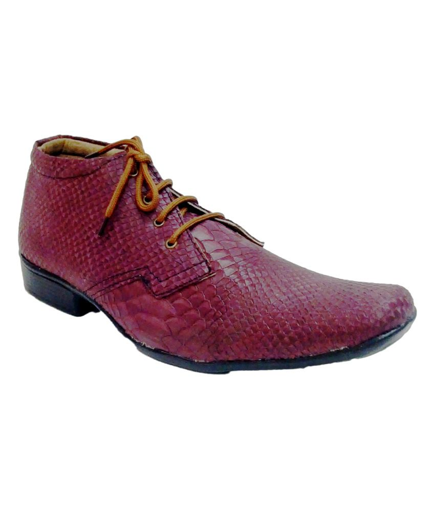 Blackgala Maroon Ankle Length Leather Shoes