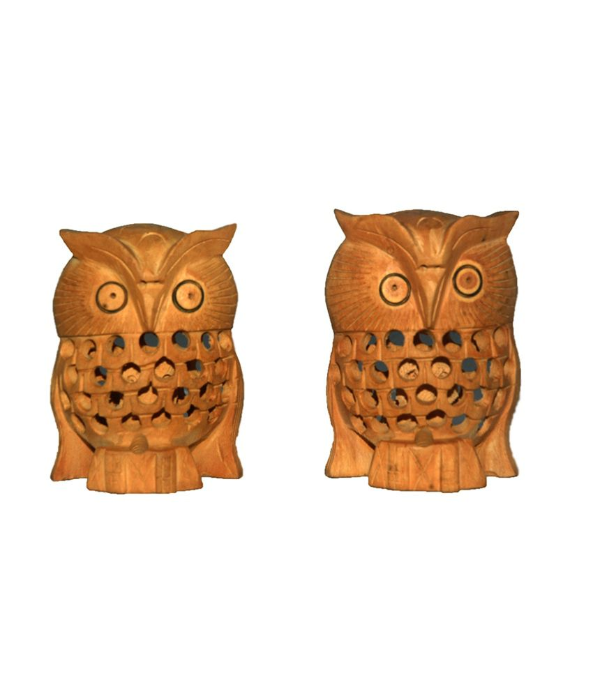 Grj India Set Of 2 Decorative Hand Carved Wooden Jali Owl Figure Statue