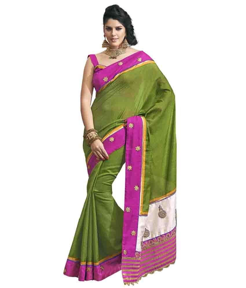 Anushree Green Silk Saree