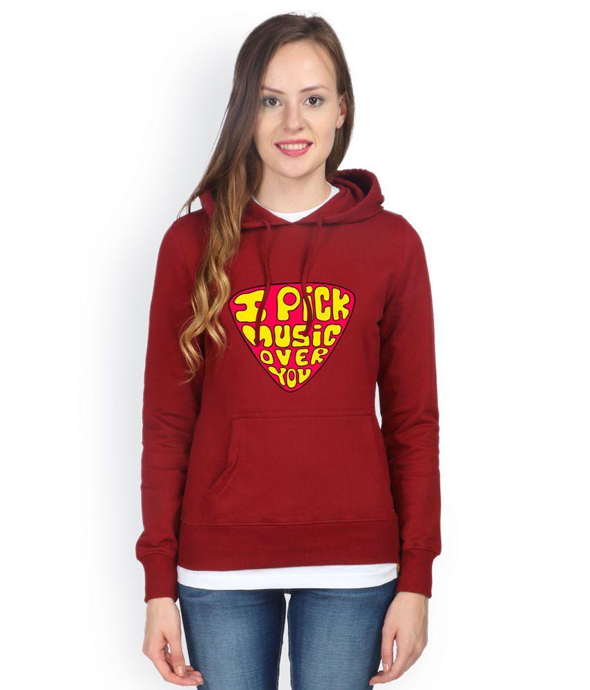 Campus Sutra Maroon Cotton - Fleece Non Zippered