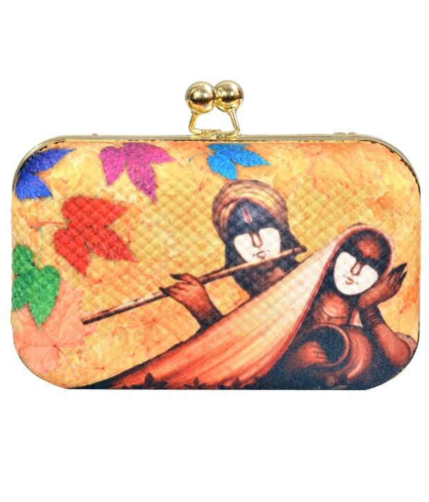 Craftstages Yellow Digital Print Clutch