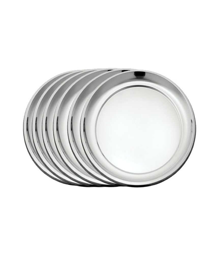 airan stainless steel rajbhog plain dinner plate 6 pcs set buy online at best price in india. Black Bedroom Furniture Sets. Home Design Ideas