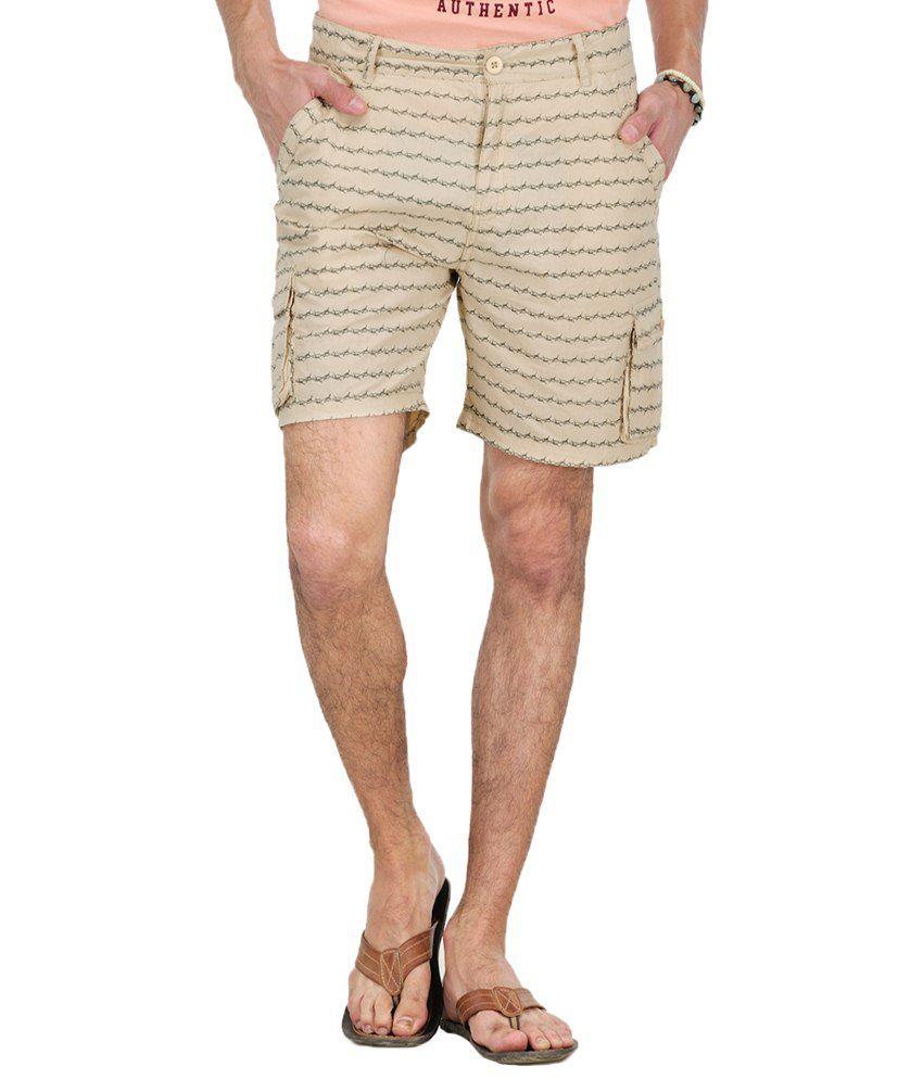 Yepme Beige Cotton Solids Shorts