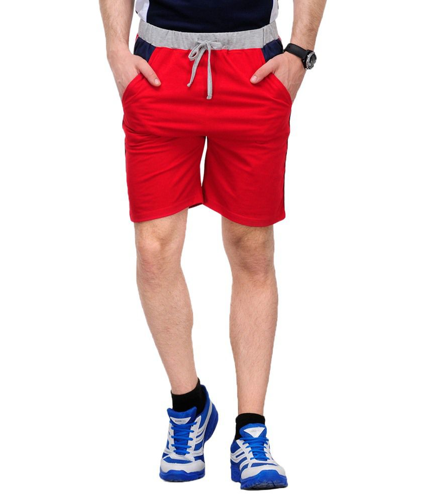 Yepme Red Cotton Solids Shorts