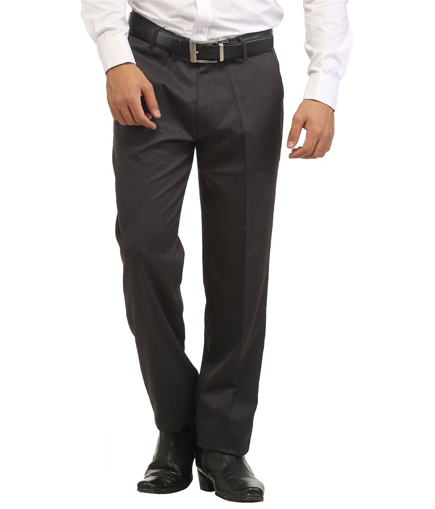 Inspire Grey Slim Fit Formal Trouser