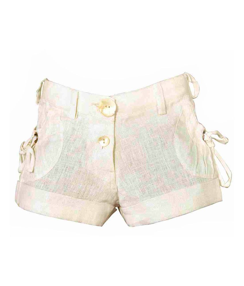 Lil Poppets White Linen Elastic Shorts