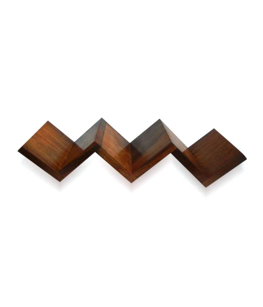 Wood Ocean Brown W Shaped Zigzag Wall Mounted Book Floating Shelf/ Wall Shelf / Storage Shelf/ Decoration Shelf