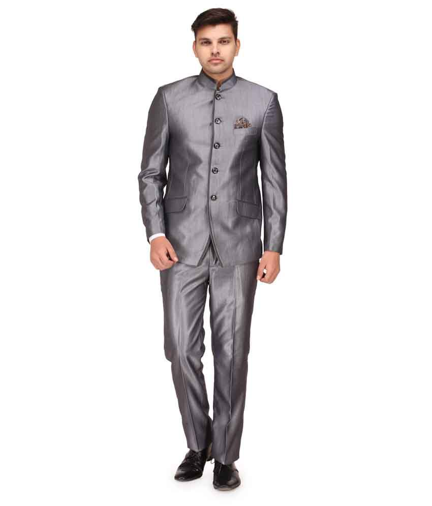 Canary London Silver Cotton Blend Designer Suit