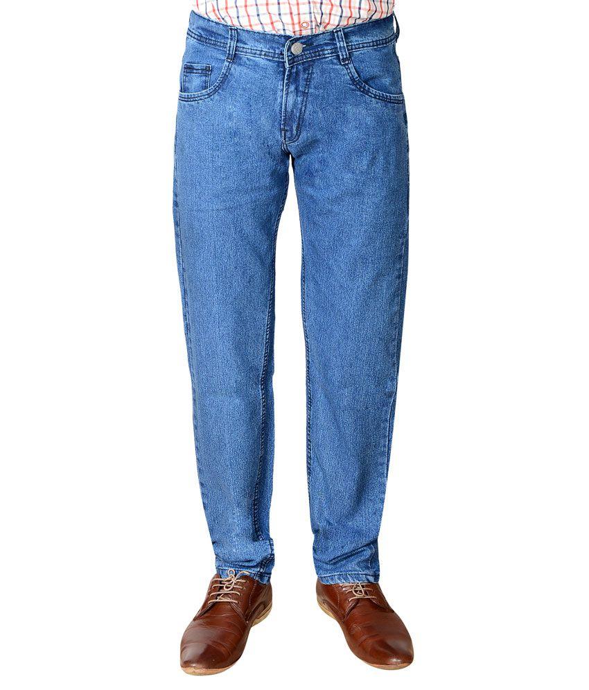 Flyjohn Trendy Light Blue Cotton Denim Jeans