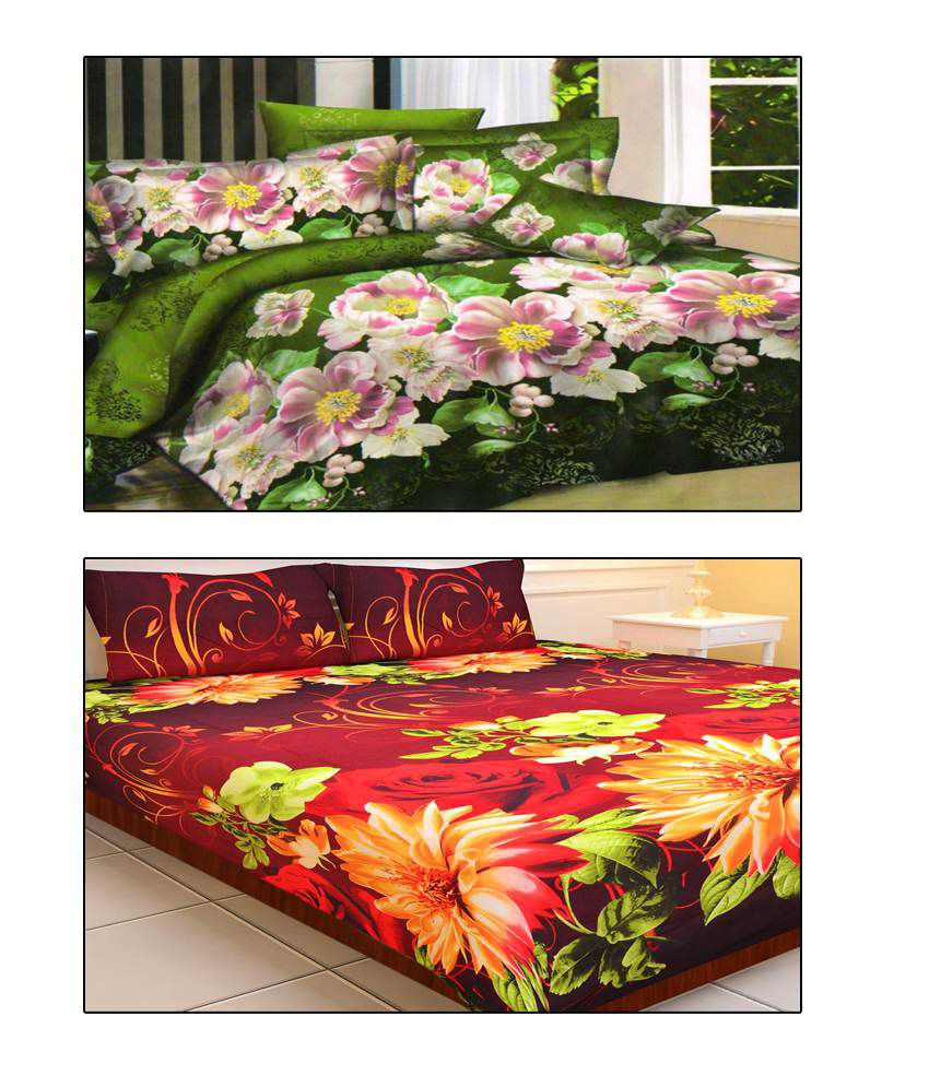 Home Creations Green Red 3d Print Floral Polyester 2 Bed