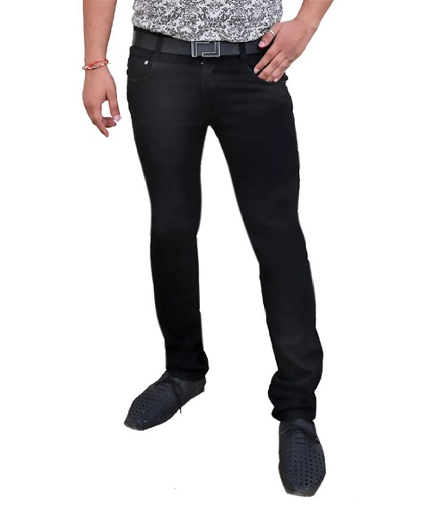 Karya Black Slim Fit Cotton Jeans For Men