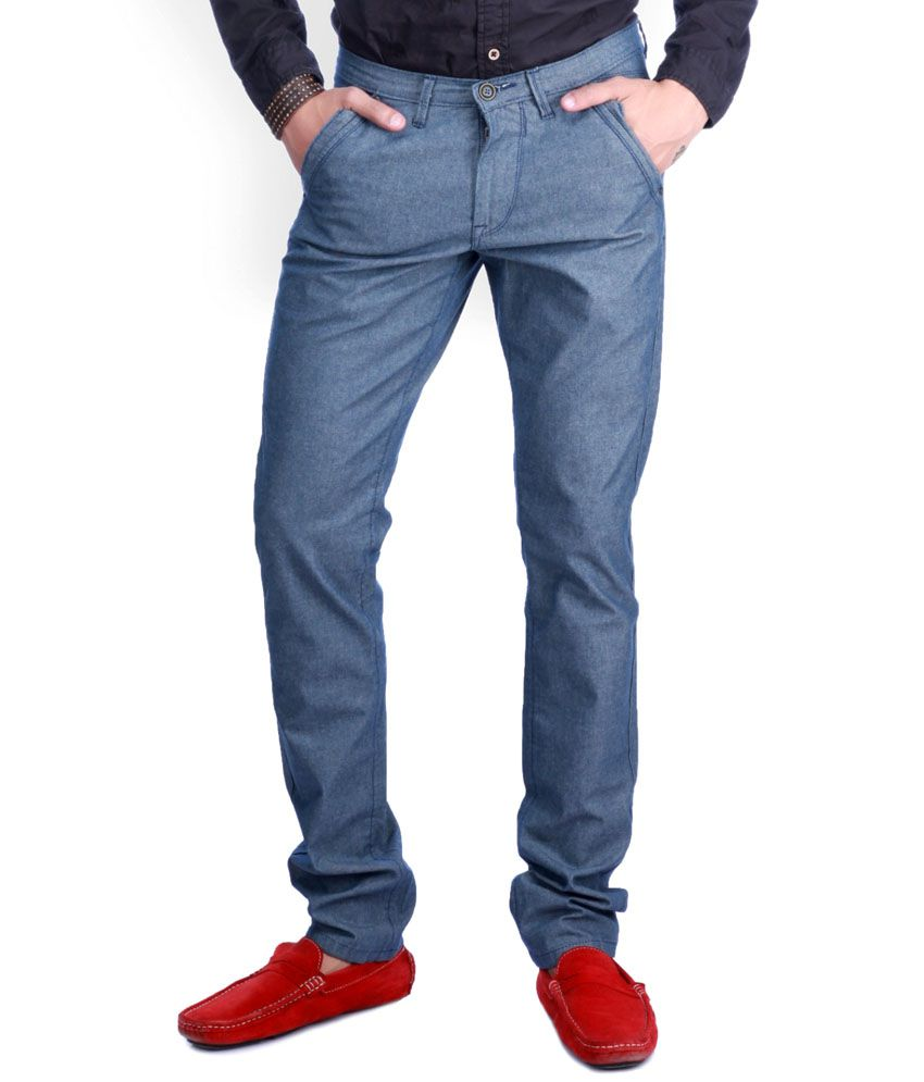 Sixth Element Blue Straight Fit Casual Trouser