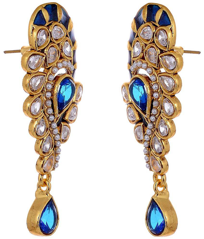 Aditri Blue & Golden Hanging Earrings