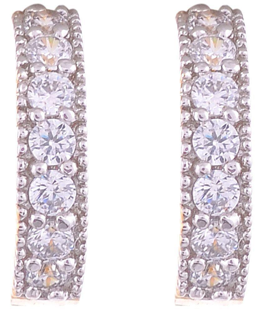 Aditri Exquisite Golden & Silver American Diamond Hoop Earrings
