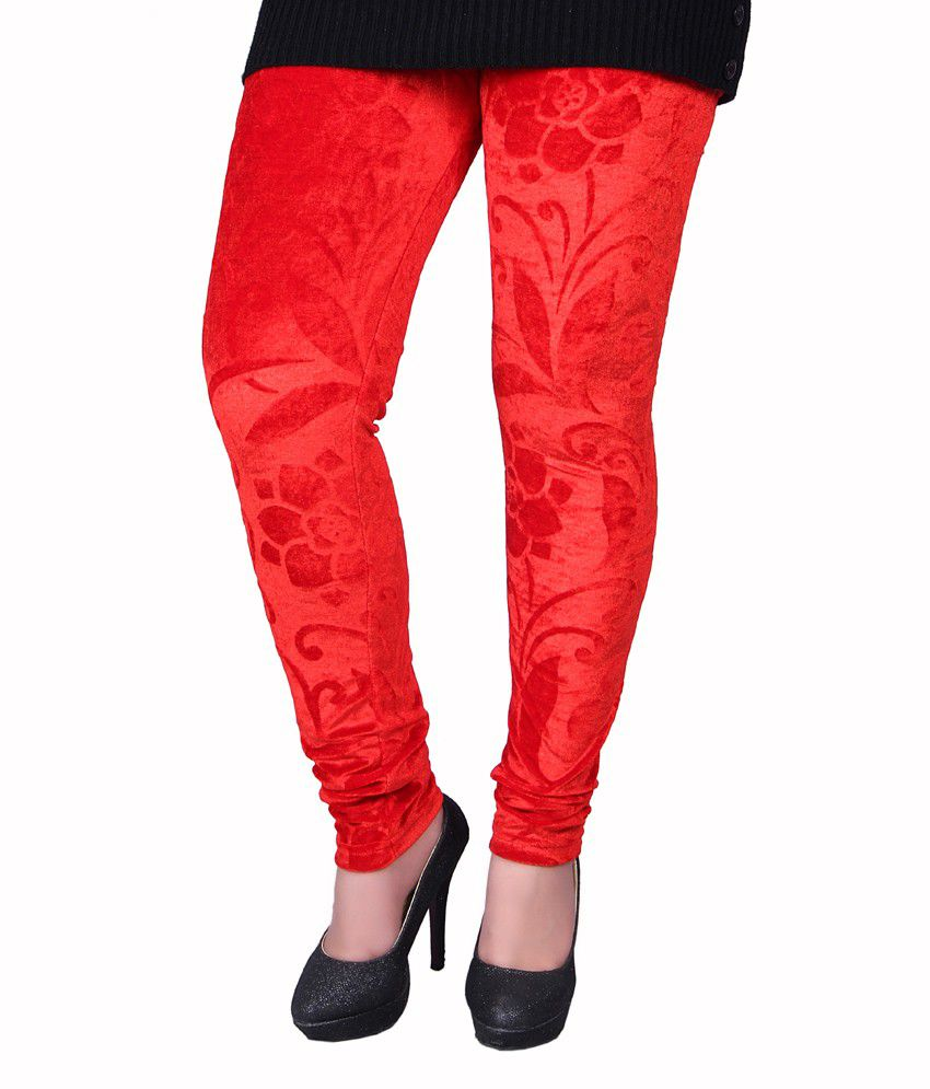 Kally Red Poly Cotton Jeggings
