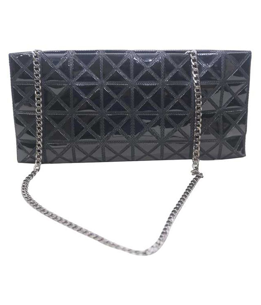 Mex Black Square Print Clutch