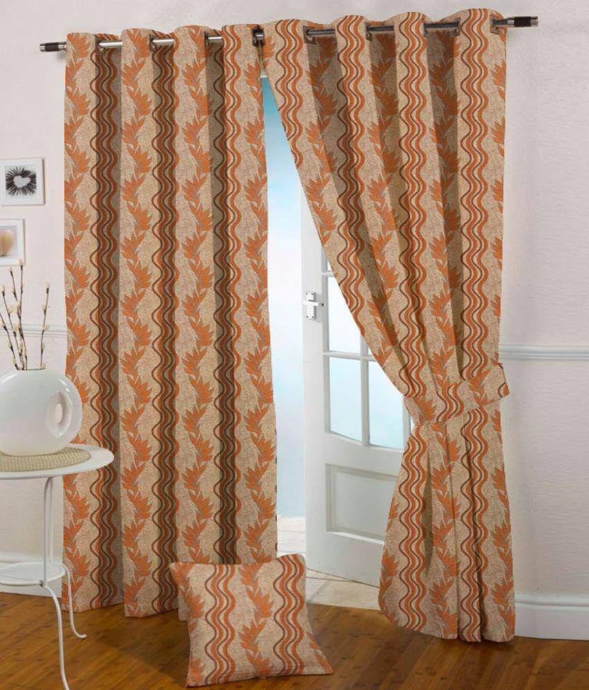 Presto Single Door Eyelet Curtain Contemporary Orange