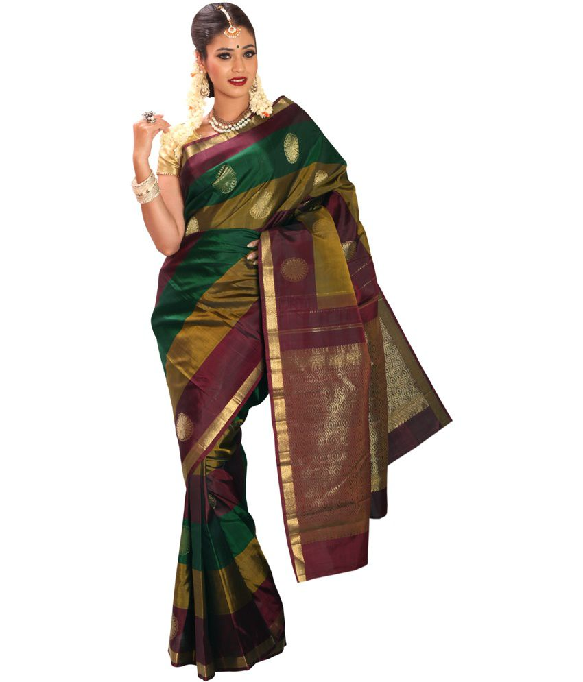 e995af67c Shreevastra Multi-colored Pure Zari Kanjivaram Silk Saree - Buy Shreevastra  Multi-colored Pure Zari Kanjivaram Silk Saree Online at Low Price -  Snapdeal.com