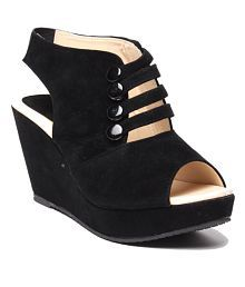 Anand Archies Black Wedges Sandals