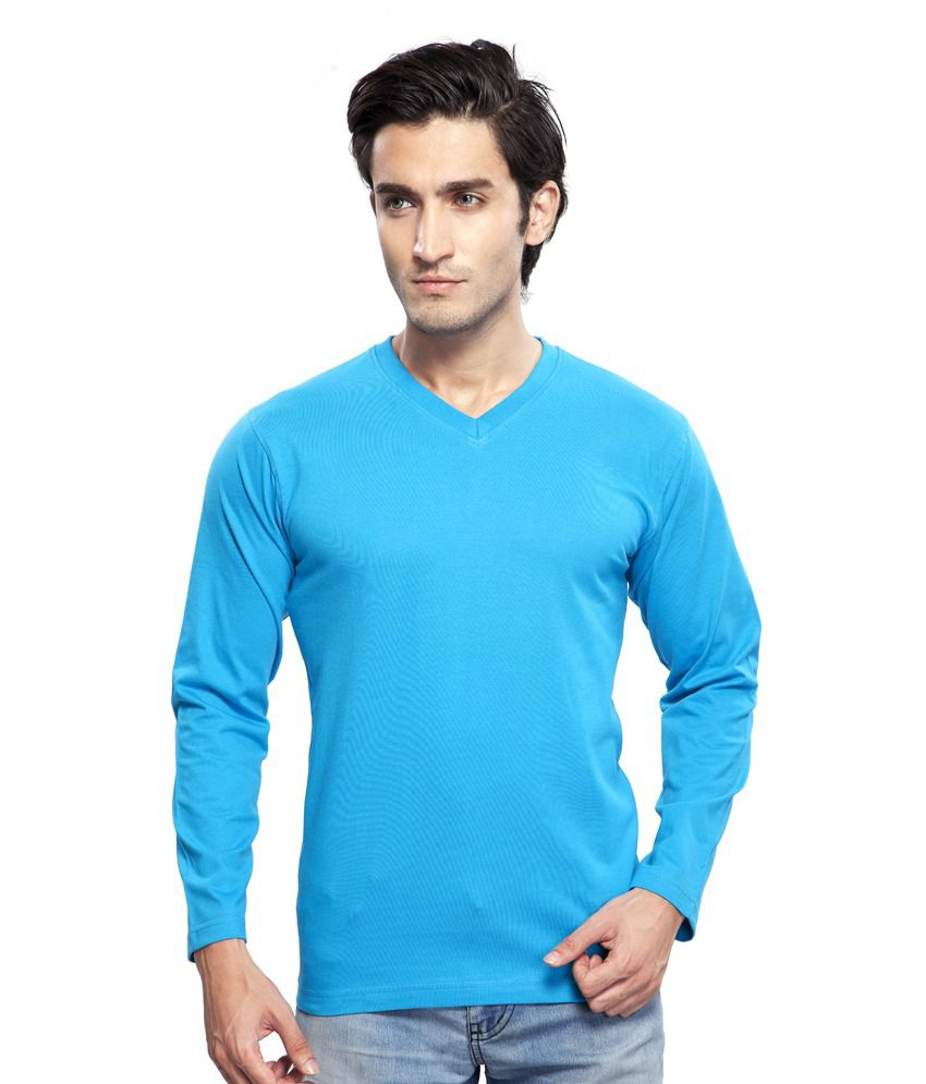 Clifton Blue Cotton Full Sleeves V-neck T-shirt