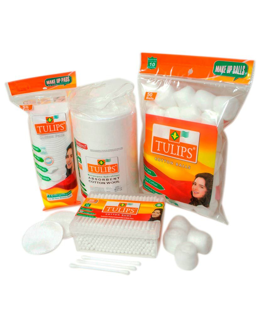 Tulips Cotton Buds, Cotton Balls, Cotton Pads, Sterilized Absorbent Cotton Roll Combo Pack Of 1unit Each