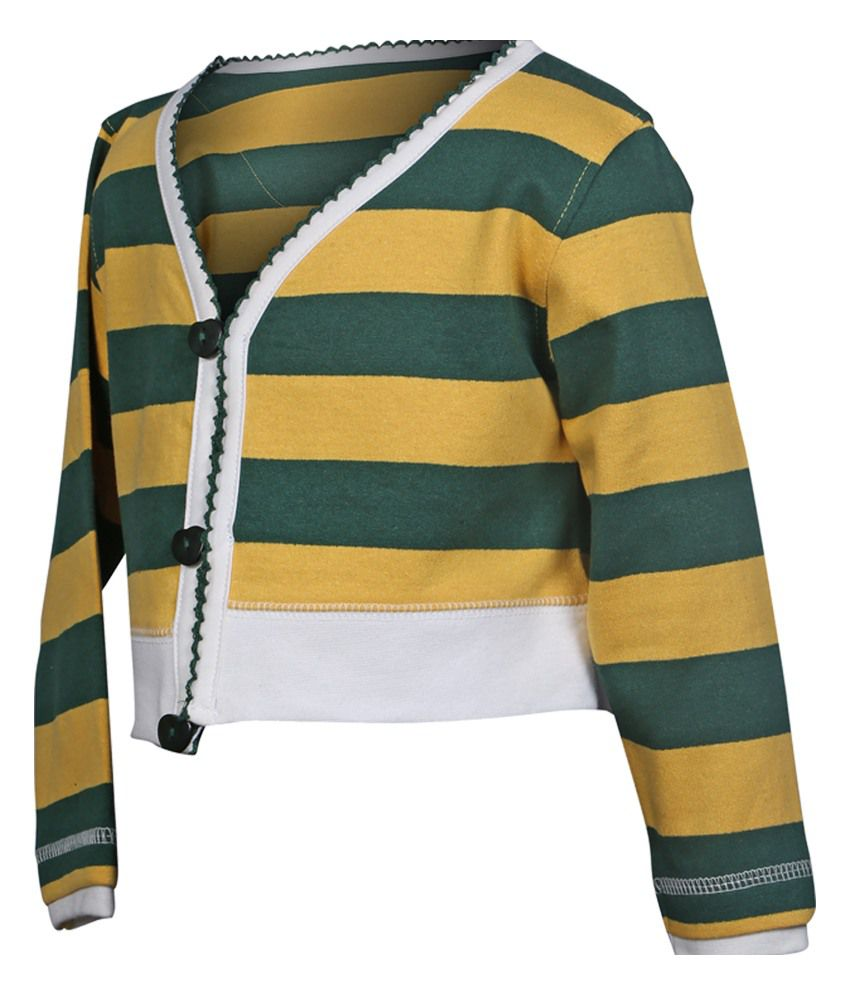 Goodway Infants Full Open Sweatshirt - Green And Yellow