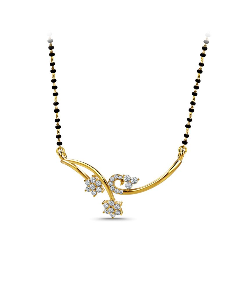Naayab Mayur Contemporary Gold 18kt Hallmarked Mangalsutra Without Chain