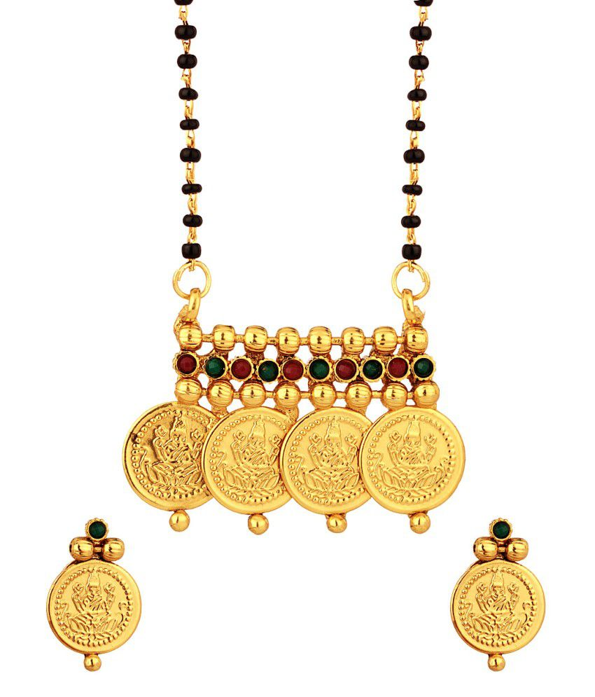 Voylla Single Chain Temple Inspired Coin Mangalsutra Set With Red And Green Stones