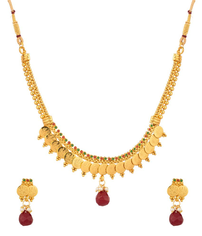 Voylla Traditional Gold Plated Coin Necklace Set With Red And Green Color Stones