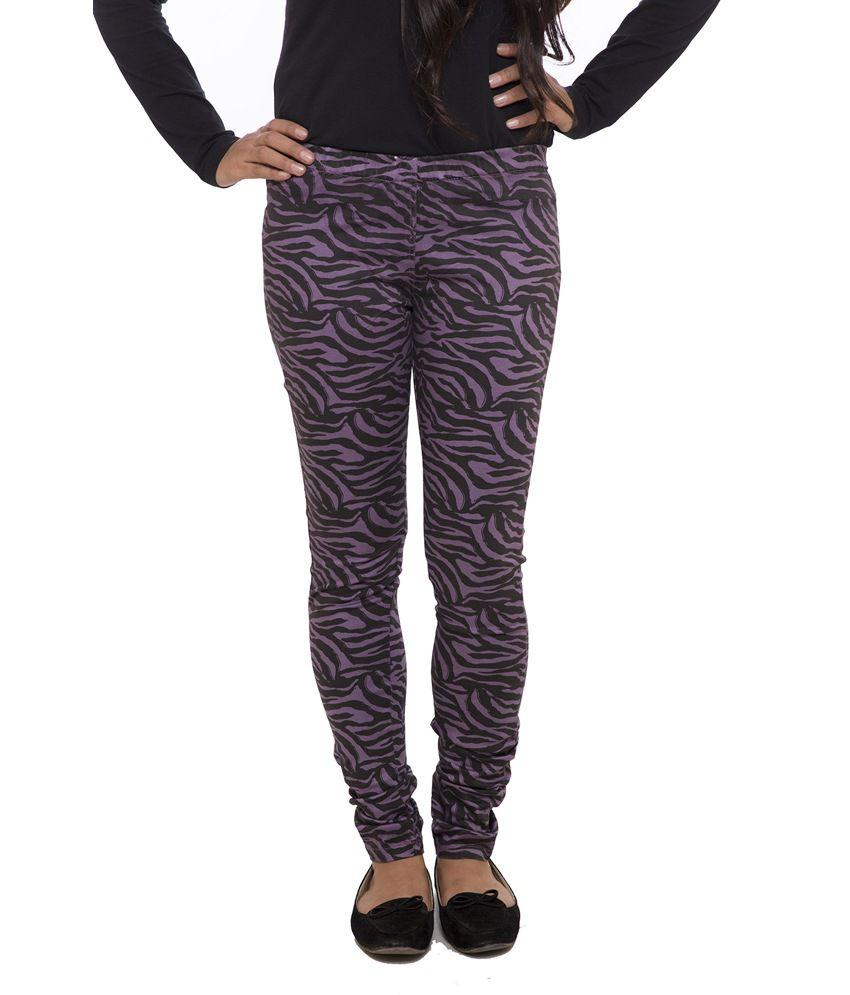 Fashion Cult Purple Cotton Lycra Jeggings