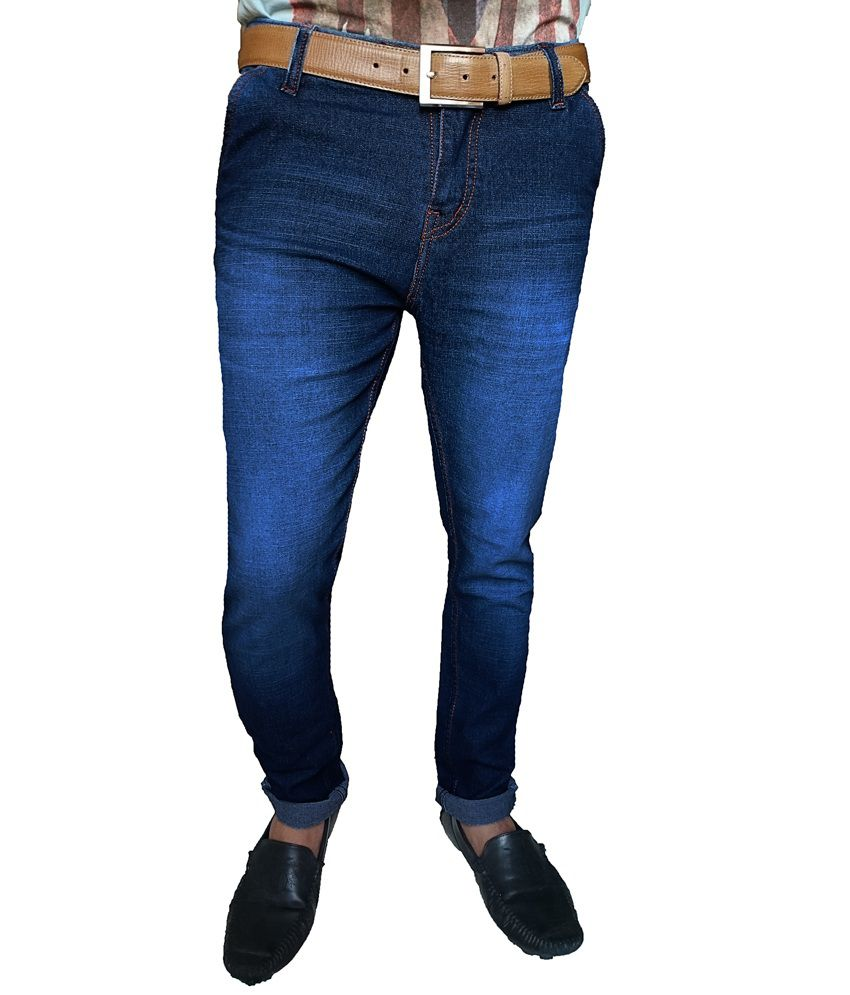 Oiin Blue Cotton Blend Cross Pocket Jeans