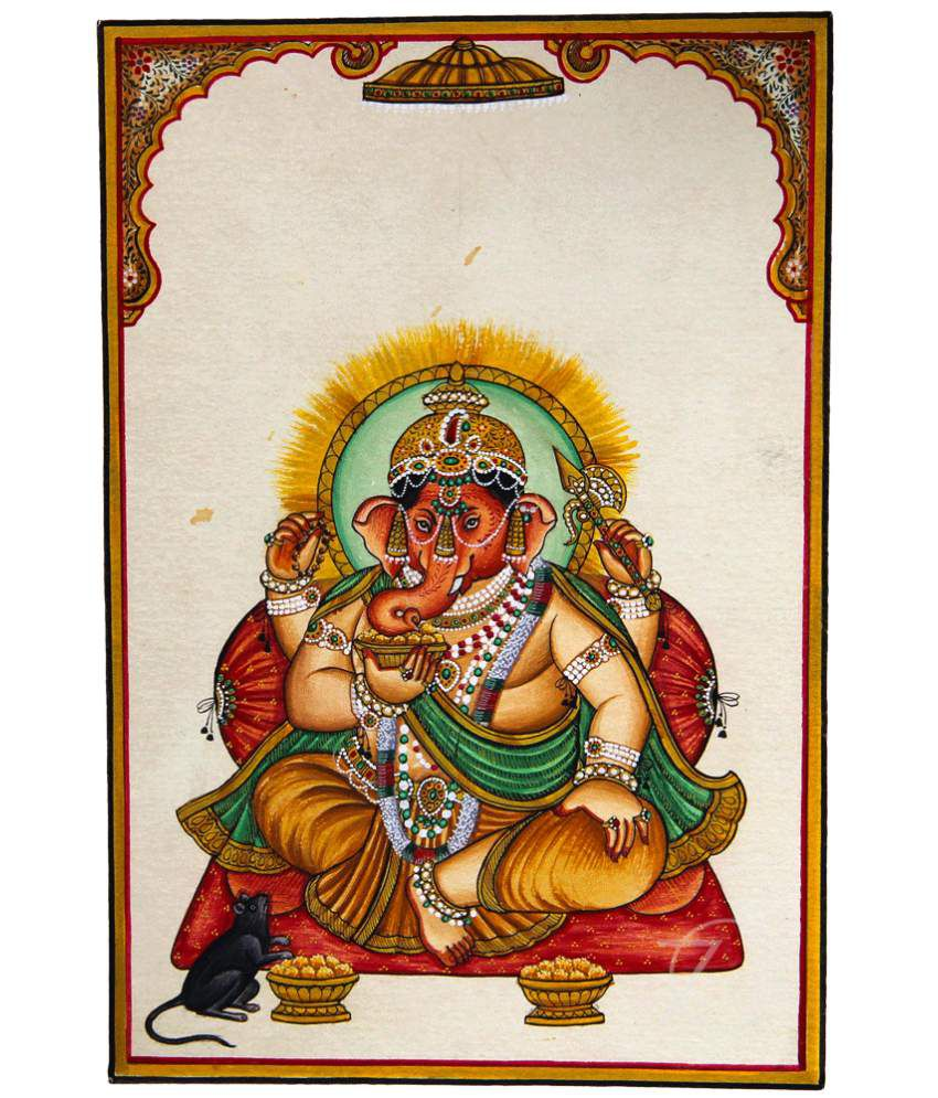 Handmade Indian Miniature Painting-Ganesha (With Golden Frame)