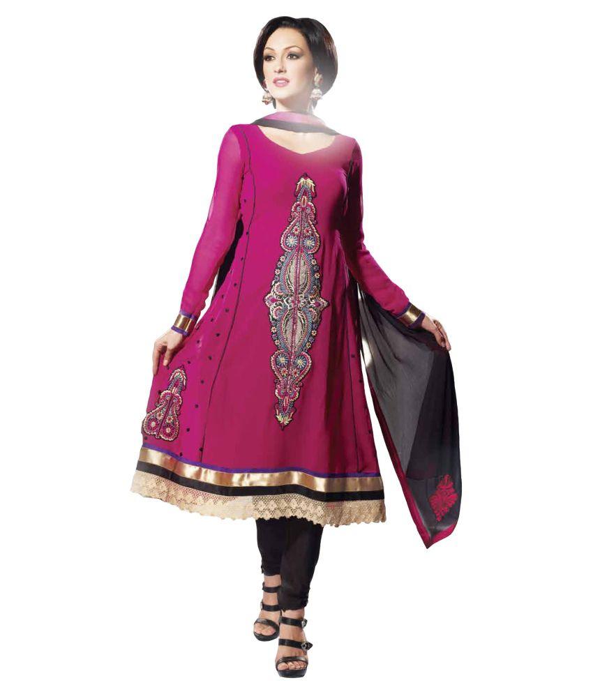 Atisundar Atisundar Pink Faux Georgette Embroidered A-Line Dress Material (Multicolor)