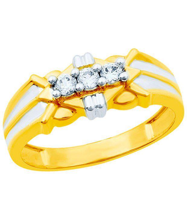 Eldora Elegant 18Kt Gold Plated CZ Ring For Men