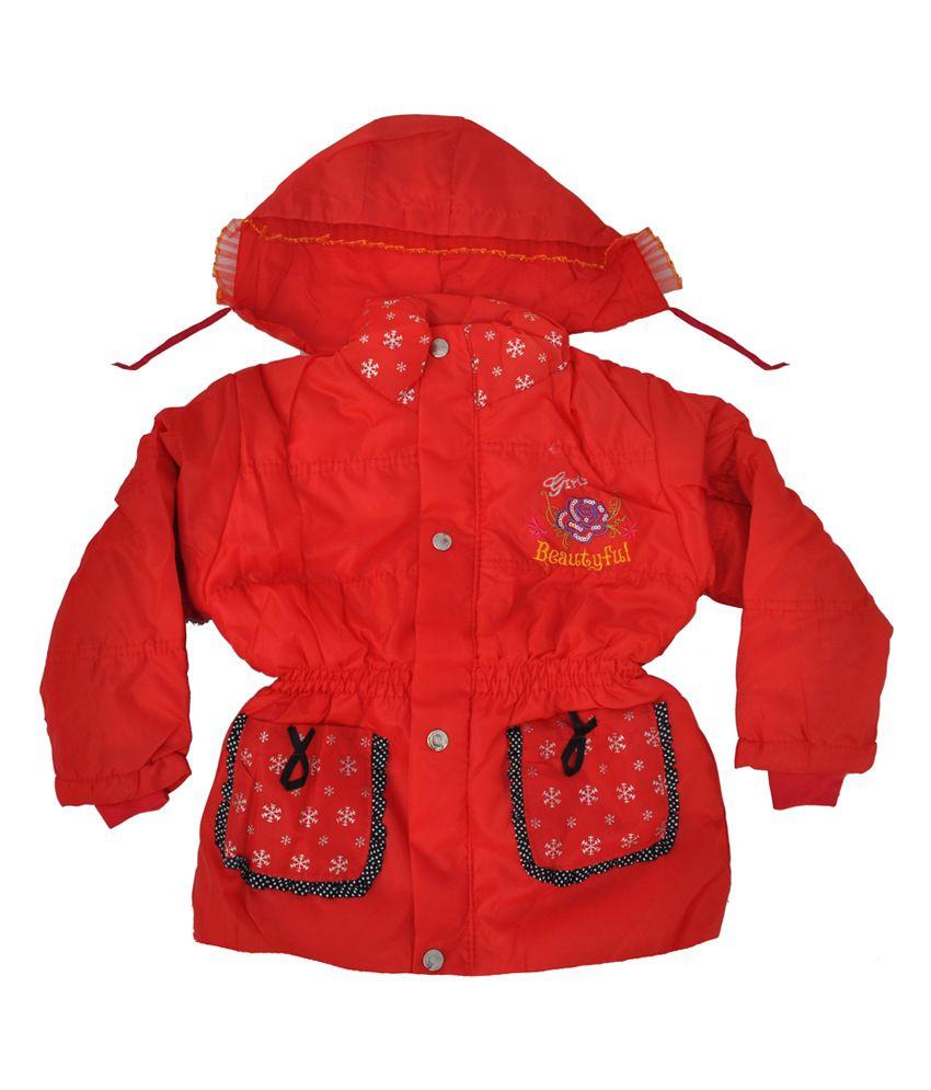 Kids Rock Full Sleeves Red Girls Jacket