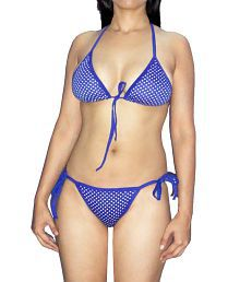 Selfcare Blue Dotted Non- Padded Bra & Panty Set