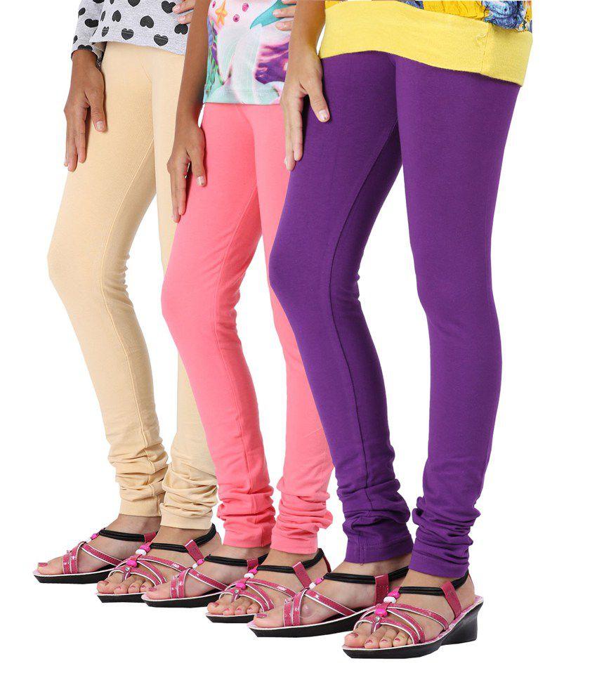 Greenwich Multicolour Cotton Leggings - Pack Of 3