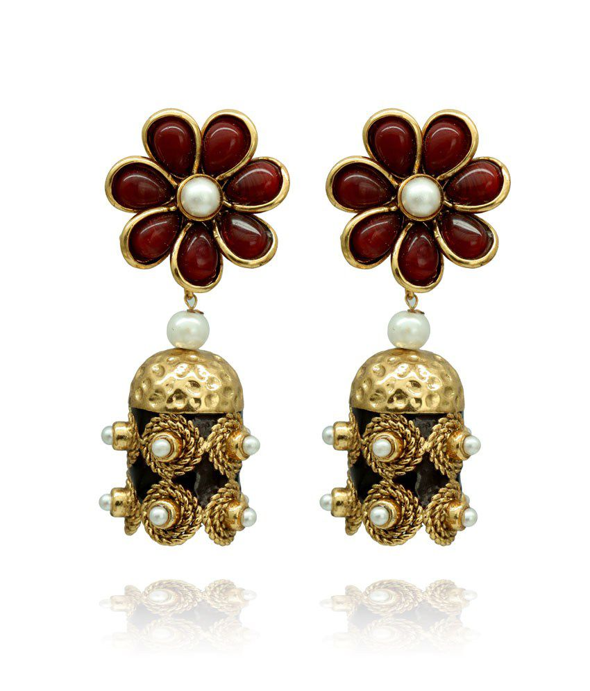 Siyora Red And Gold Polish Danglers Bridal Earring