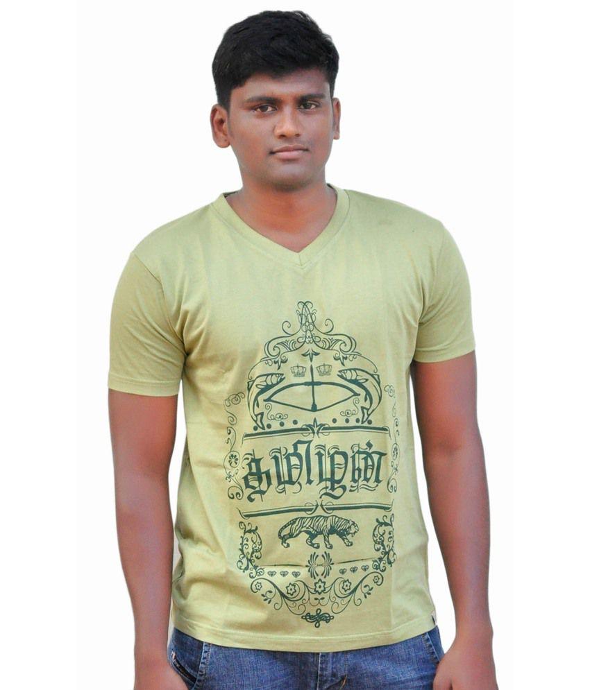 Fotachu Tamil Tamizhan Green V Neck Cotton Printed T-shirt