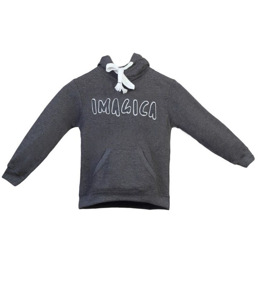 Imagica Black Blended Hooded Sweatshirt For Girls