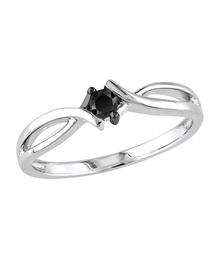 33a592bd0 Kiara Black Stone Sterling Silver Ring Made Of Swarovski Zirconia: Buy Kiara  Black Stone Sterling Silver Ring Made Of Swarovski Zirconia Online in India  on ...