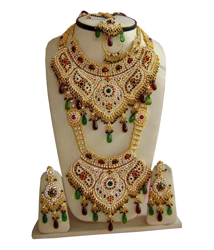 Narbh India Gold Plated Hand Made Wedding Bridal Jewelry Necklace Set
