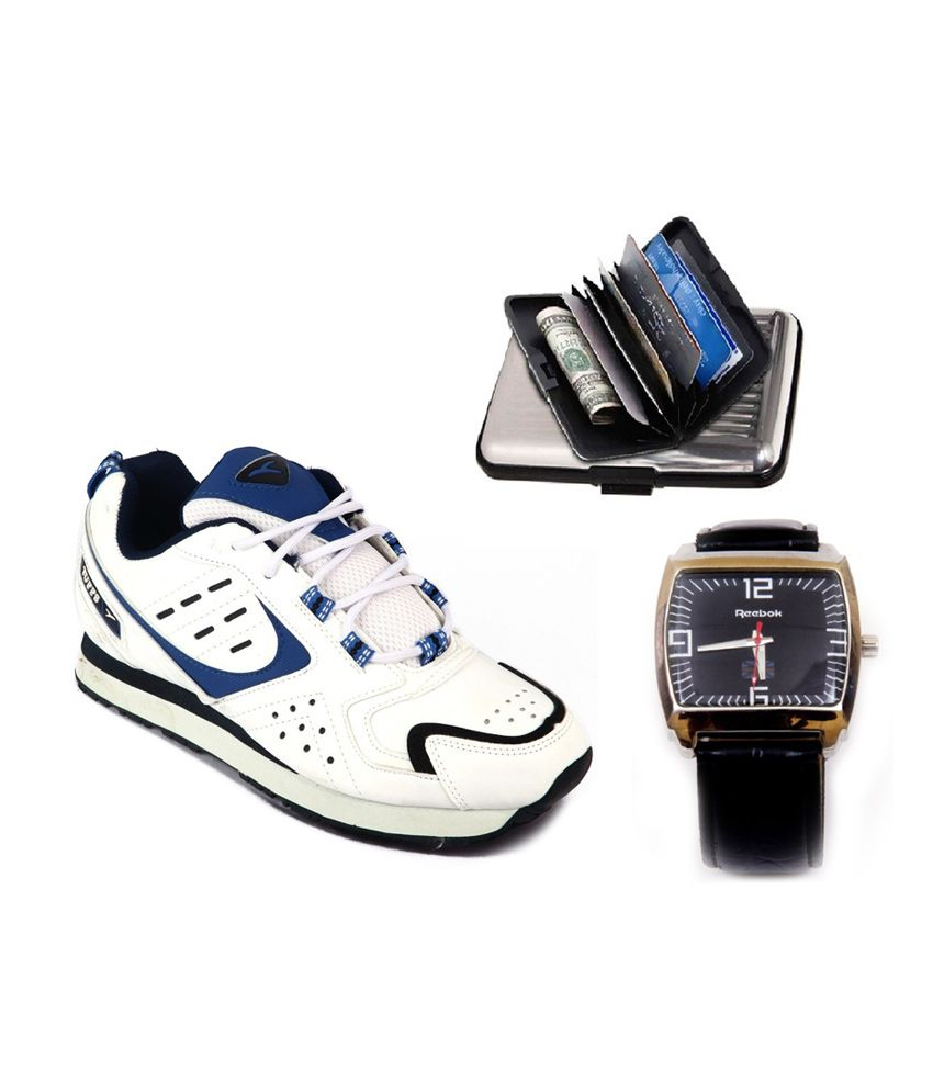 Tuffs White Mesh/textile Running Sports Shoes Watch And Cardholder Combo