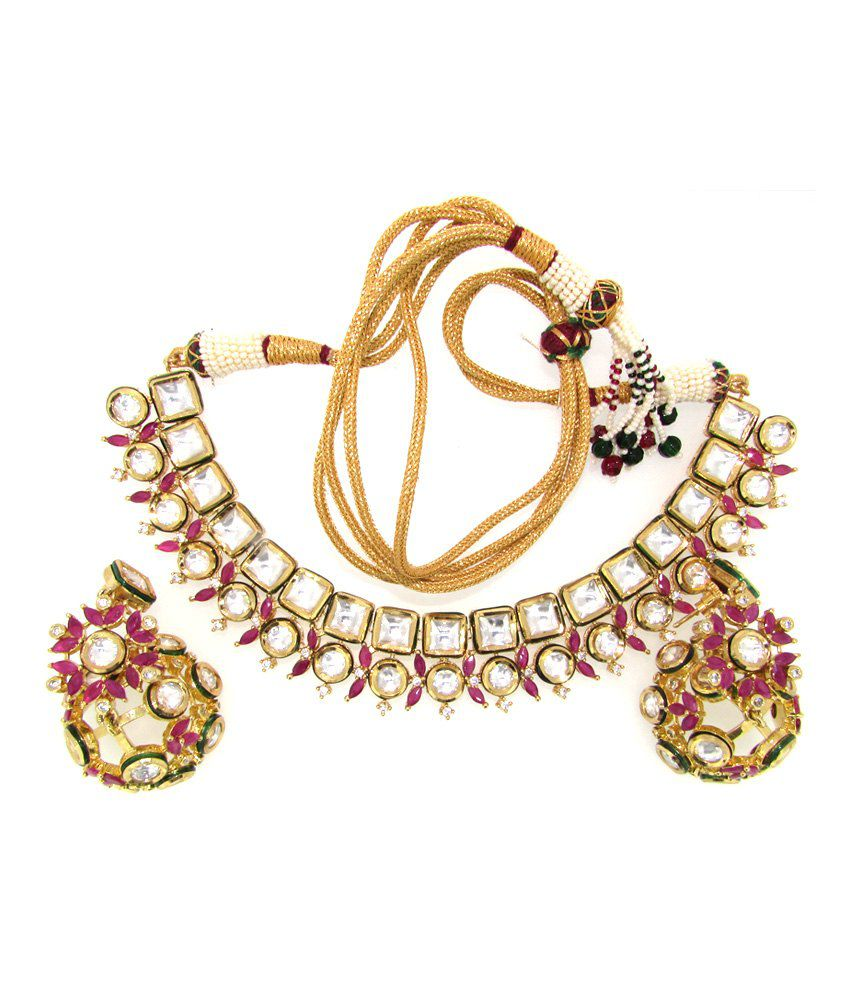 Ultra-shine Agena 925 Sterling Silver Kundan Nacklace Set