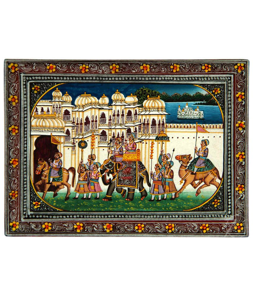 Handmade Indian Miniature Painting-King's Procession and Udaipur Palaces (With Black Frame)