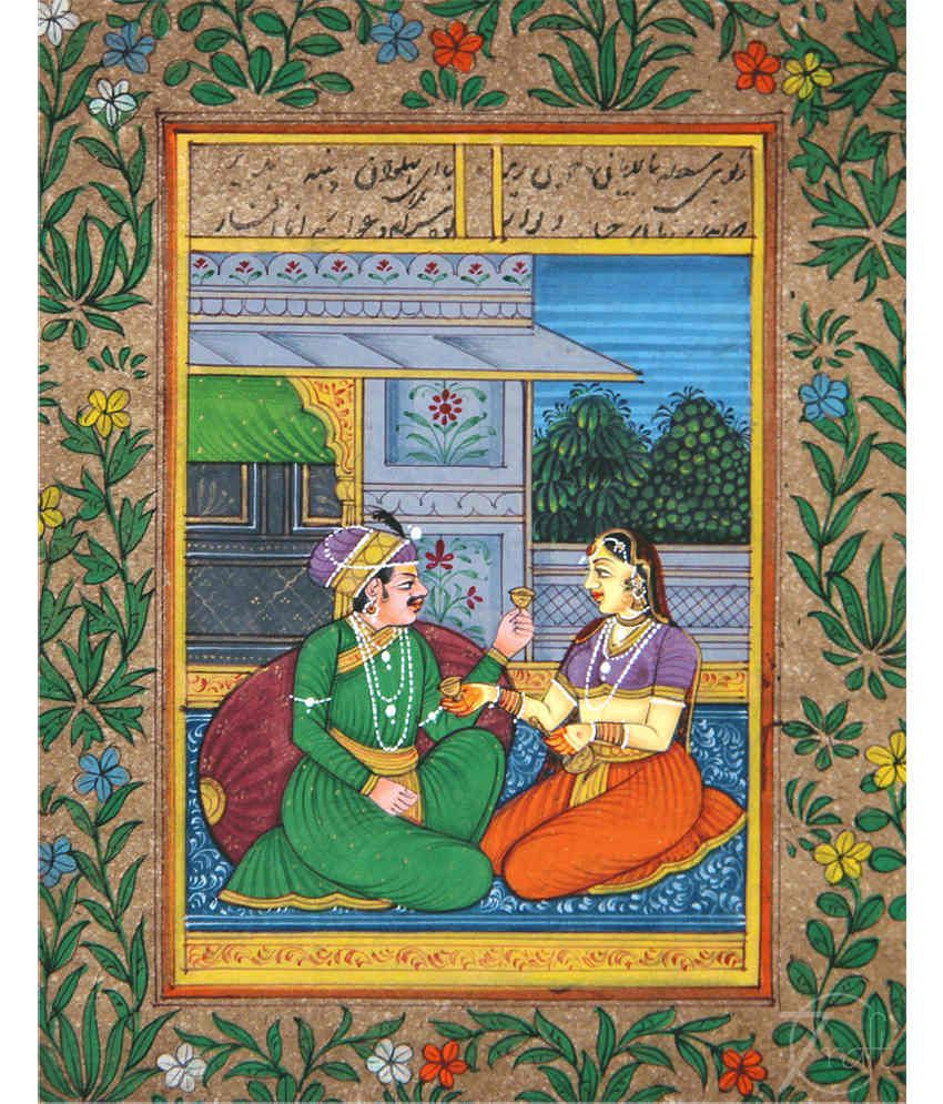 Handmade Indian Miniature Painting-King and Queen (With Black Frame)