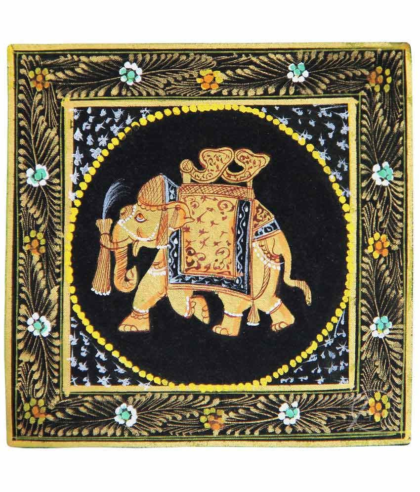 Handmade Indian Miniature Painting-Rajasthani Elephant (With Black Frame)