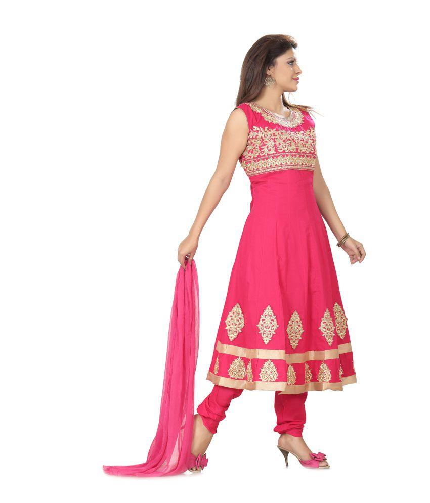 Ishin Prints Pink Cotton Kantha Embroidery Anarkali Salwar Suit