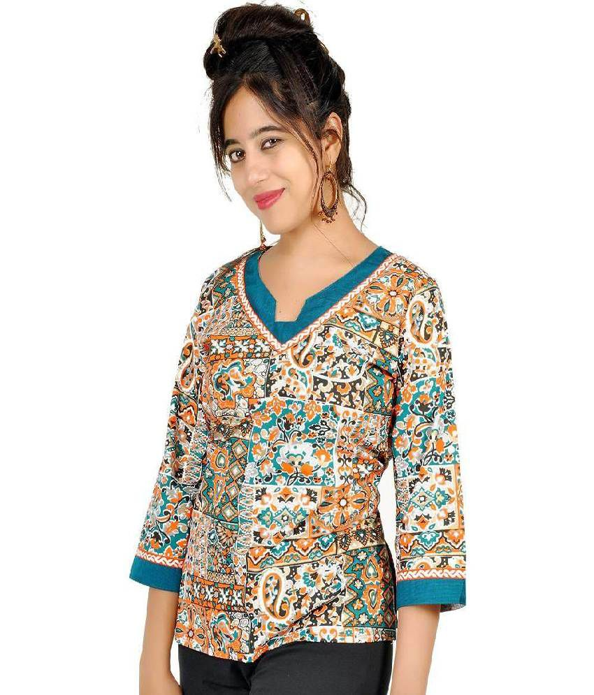 Little India Cotton Printed Round Neck Kurti